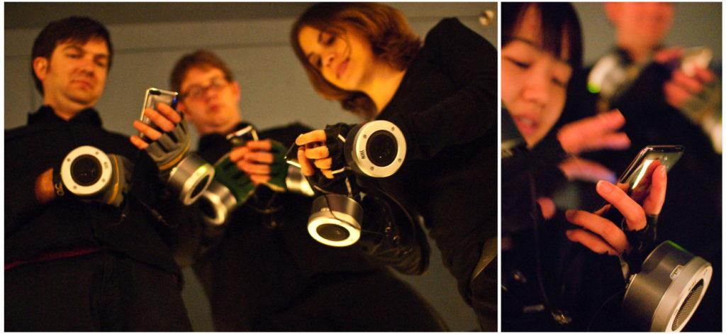 "Probenfotos des Smartphone-Orchesters ""MoPhO Stanford"" im Oktober 2009. / Foto: Ge Wang"