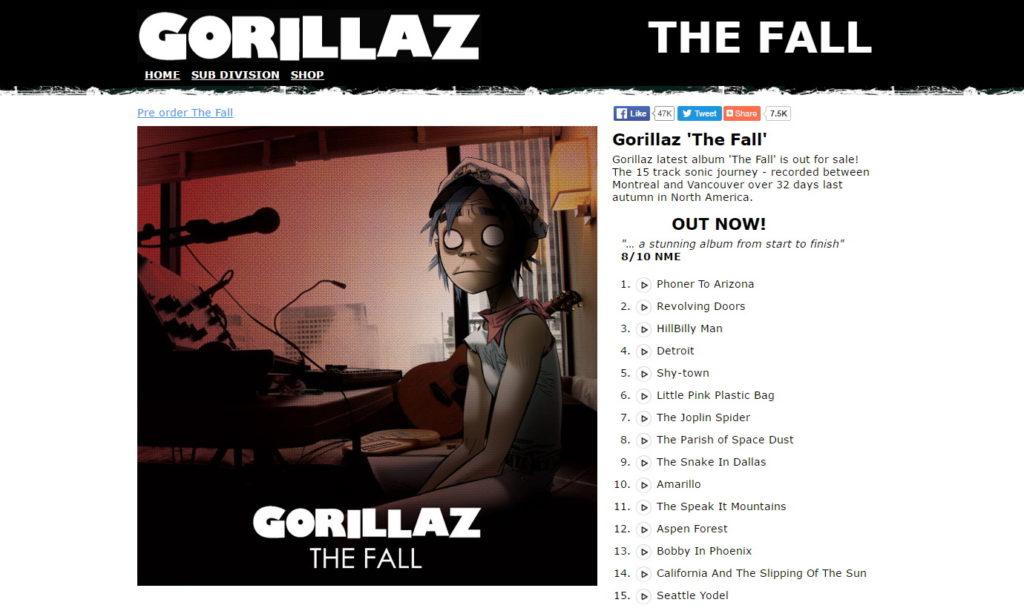 Screenshot der Webseite http://thefall.gorillaz.com/ auf der das auf einem iPad produzierte Album am 25.12.2010 veröffentlicht wurde.